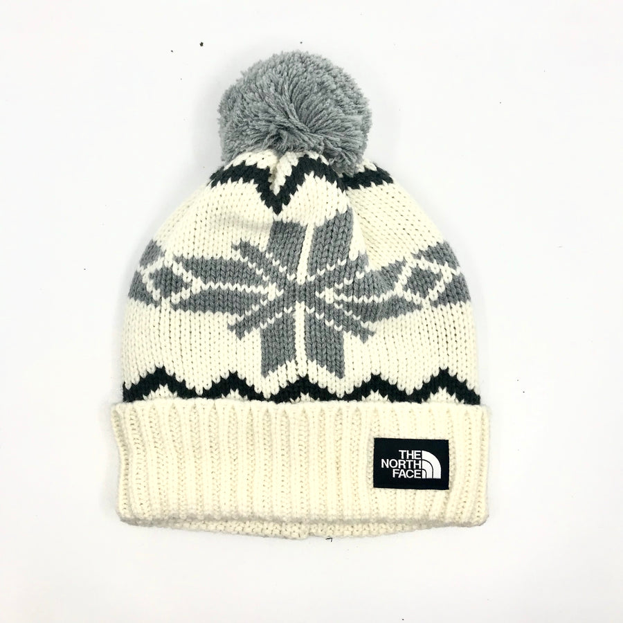 2020 The North Face Fair Isle Beanie in White and Grey