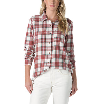 Vans Womens Meridian III Flannel Shirt in Apple Butter White and Red