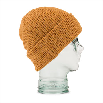 2022 Volcom Womens Waffle Patch Beanie in Resin Gold