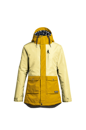 2022 Airblaster Stay Wild Parka Womens Snow Jacket in Custard Gold