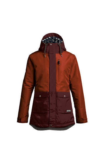 2022 Airblaster Stay Wild Parka Womens Snow Jacket in Oxblood