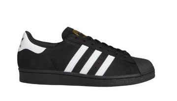 Adidas Superstar ADV Skate Shoe in Core Black and White and Gold