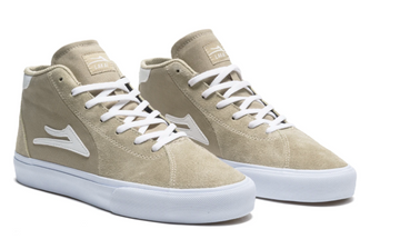 Lakai Flaco 2 Mid Skate Shoe in Light Grey Suede
