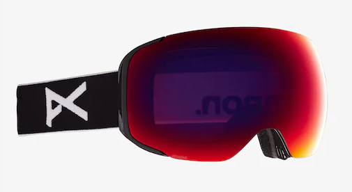 2021 Anon M2 Snow Goggle in Black with a Black Lens and a Perceive Sunny Red Bonus Lens