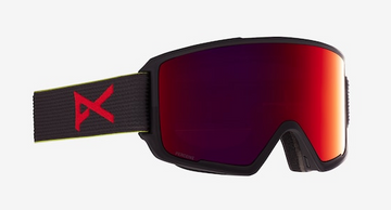 2021 Anon M3 Snow Goggle in Black with a Black Pop Lens and a Perceive Sunny Red Bonus Lens