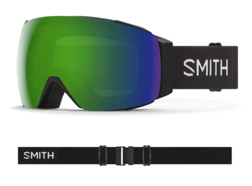 2021 Smith I/O MAG Snow Goggle in a Black Frame with a ChromaPop Sun Green Mirror Lens