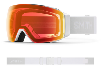2021 Smith I/O MAG Snow Goggle in a White Vapor Frame with a ChromaPop Everyday Red Mirror Lens