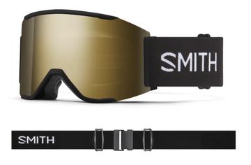 2021 Smith Squad MAG Snow Goggle in a Black Frame with a ChromaPop Sun Black Gold Mirror Lens