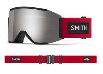 2021 Smith Squad MAG Snow Goggle in a TNF Red X Smith Frame with a ChromaPop Sun Platinum Mirror Lens