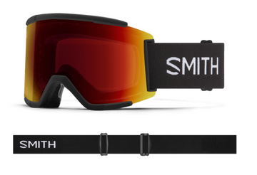 2021 Smith Squad XL Snow Goggle in a Black Frame with a ChromaPop Sun Red Mirror Lens