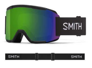 2021 Smith Squad Snow Goggle in a Black Frame with a ChromaPop Sun Green Mirror Lens