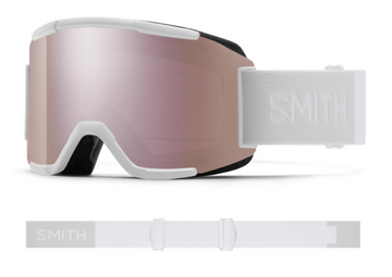 2021 Smith Squad Snow Goggle in a White Vapor Frame with a ChromaPop Everyday Rose Gold Mirror Lens