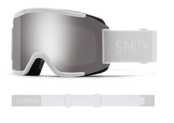2021 Smith Squad Snow Goggle in a White Vapor Frame with a ChromaPop Sun Platinum Mirror Lens