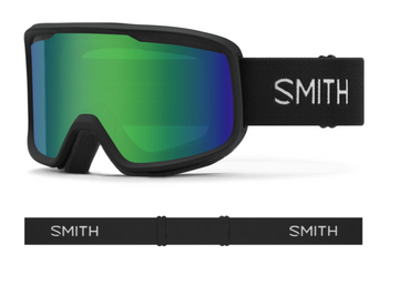 2021 Smith Frontier Snow Goggle in a Black Frame with a Green Sol-X Mirror Lens