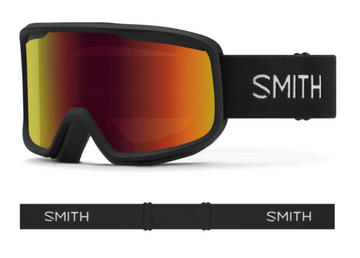 2021 Smith Frontier Snow Goggle in a Black Frame with a Red Sol-X Mirror Lens