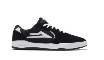 Lakai Atlantic Skate Shoe in Black and white Suede