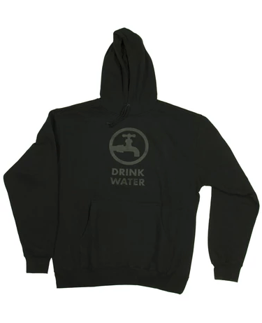 Drink Water Original Pullover Hoodie in Black & Black