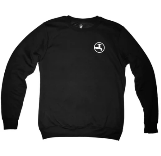 Drink Water Patch Crewneck in Black