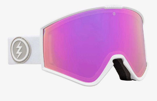 2020 Electric Kleveland Snow Goggle with a Matte White Frame and Brose Pink Chrome Lens