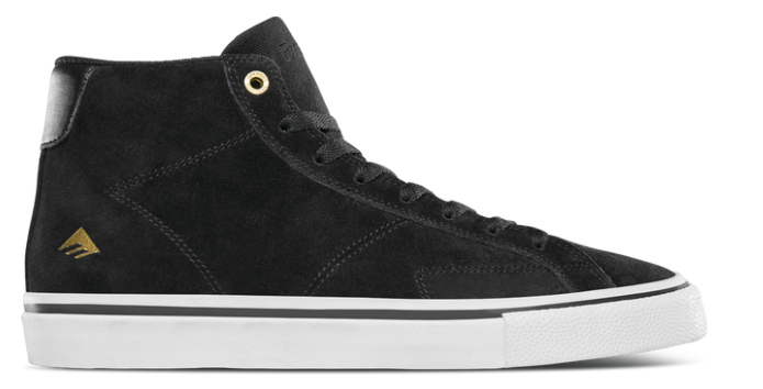 Emerica Omen Hi Skate Shoe in Black, Gold and White