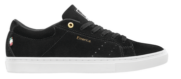 Emerica Americana Skate Shoe Black White and Gold