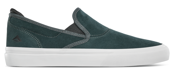 Emerica Wino G6 Slip-On Skate Shoe in Green and White