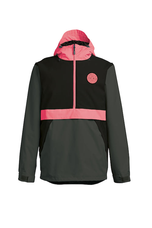2021 Airblaster Trenchover Jacket in Black Hot Coral