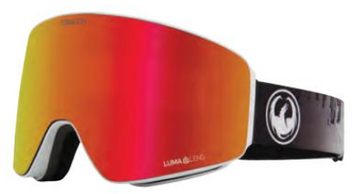 2021 Dragon PXV The Calm Snow Goggle with a Lumalens Red Ion Lens and a Lumalens Rose Bonus Lens
