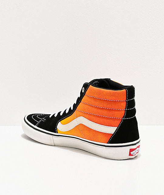 Vans Sk8 Hi Pro Shoe in Black and Fade Orange
