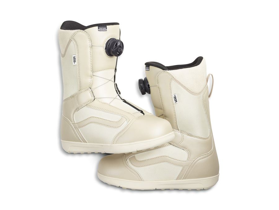 2021 Vans Encore Linerless Womens Snowboard Boot in Oatmeal and Marshmallow White