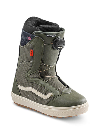 2021 Vans Encore OG Womens Snowboard Boot in Grape Leaf Green and Oatmeal