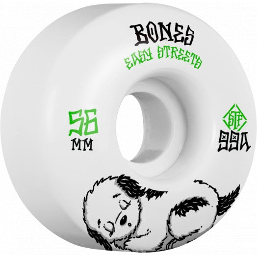 Bones Rest Easy 56mm Skate Wheels in 99a Easy Streets Fatties