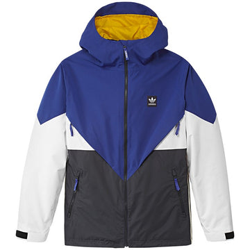 2020 Adidas Premiere Riding Snow Jacket in Active Blue Carbon Cream White and White