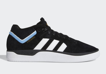 Adidas Tyshawn Shoe in Core Black Cloud White and Light Blue