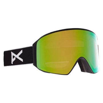 2021 Anon M4 Snow Goggle in Black with a Black Lens and a Perceive Variable Green Bonus Lens and MFI Face Mask