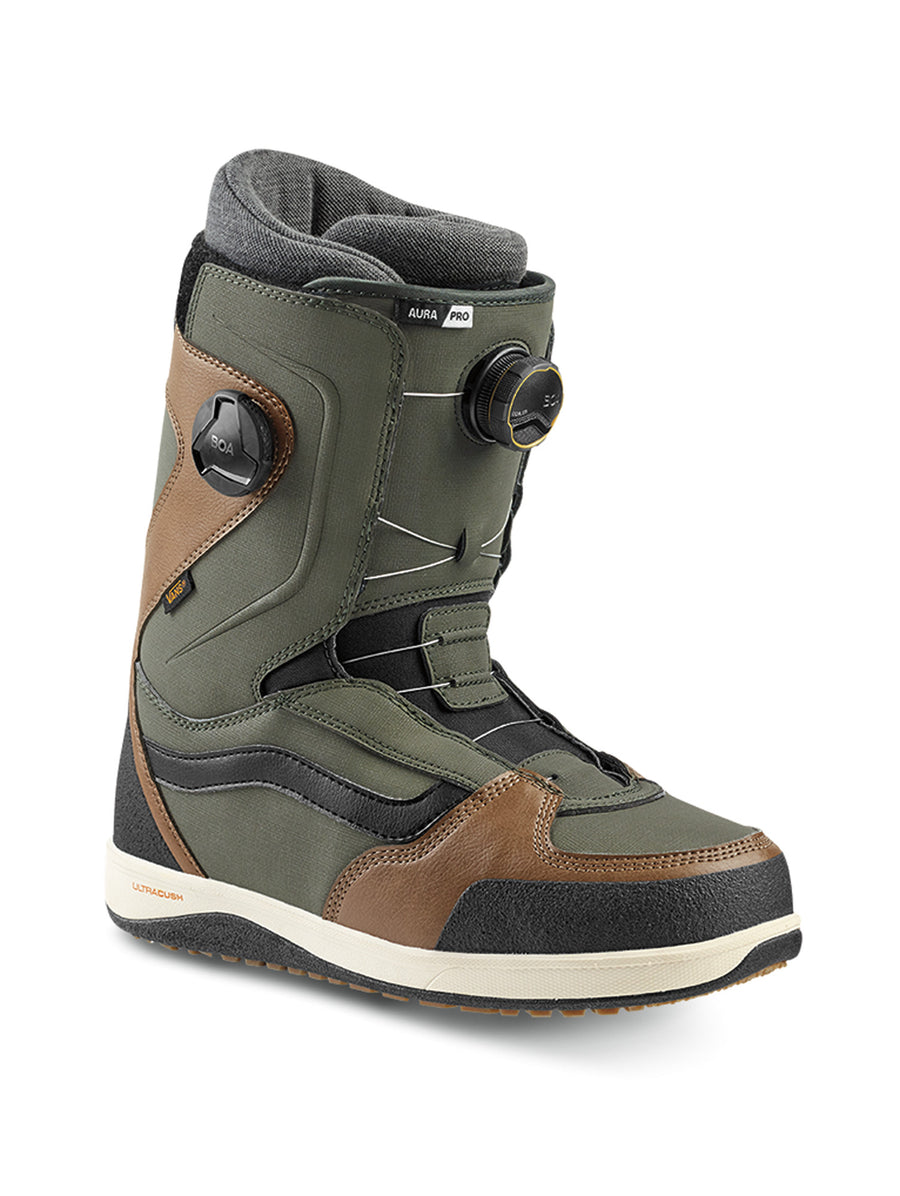 2020 Vans Aura Pro Mens Snowboard Boots in Green and Brown