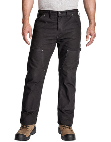 Dickies Relaxed Fit Straight Leg Double Front Duck Carpenter Work Pants in Black