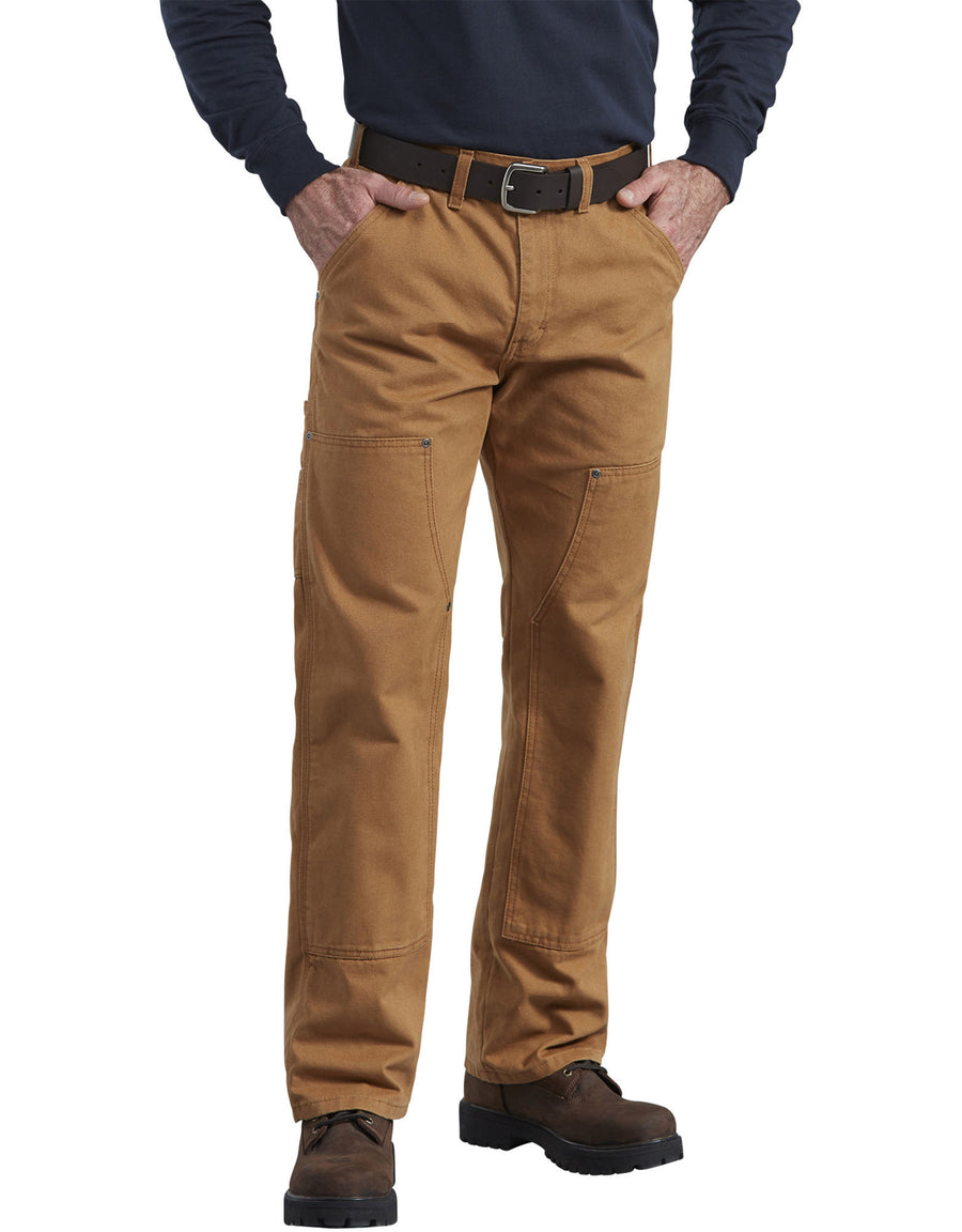 Dickies Relaxed Fit Straight Leg Double Front Duck Work Pants in Brown