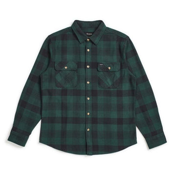 Brixton Bowery L/S Flannel in Black and Green