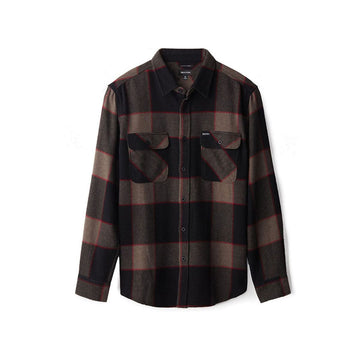 Brixton Bowery L/S Flannel in Heather Grey and Charcoal