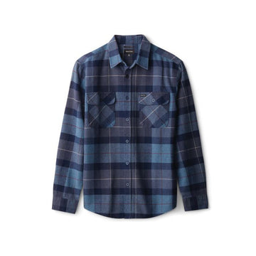 Brixton Bowery L/S Flannel in Navy and Carolina Blue
