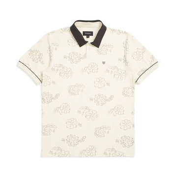 Brixton Carlos Print Short Sleeve Polo in Dove
