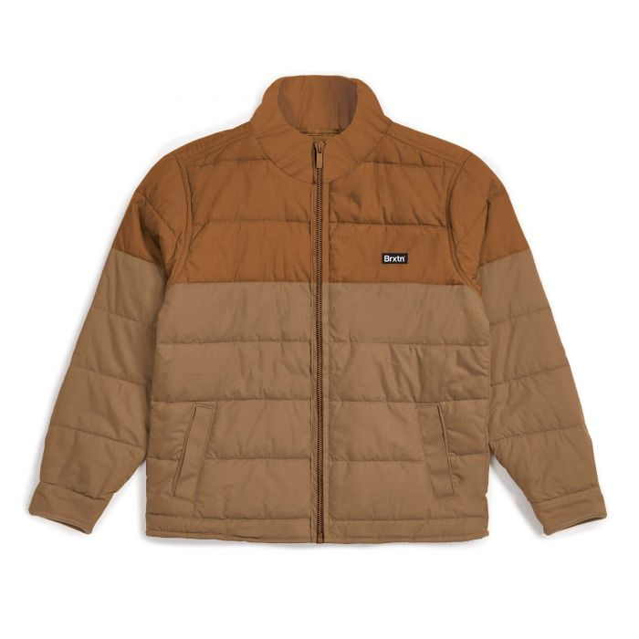 Brixton Cass Puffer Jacket in Copper and Washed Copper