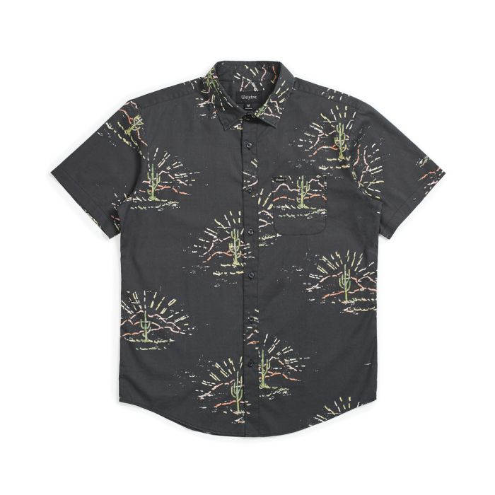 Brixton Charter Print Short Sleeve Woven Shirt in Washed Black