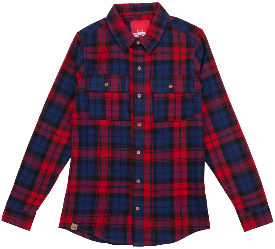 Spacecraft Milo Flannel in Red and Blue