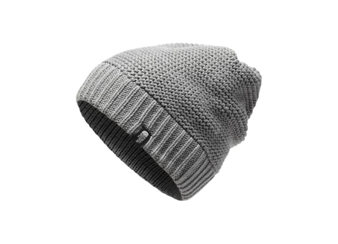 The North Face Womens Purrl Stitch Beanie in Light Grey Heather