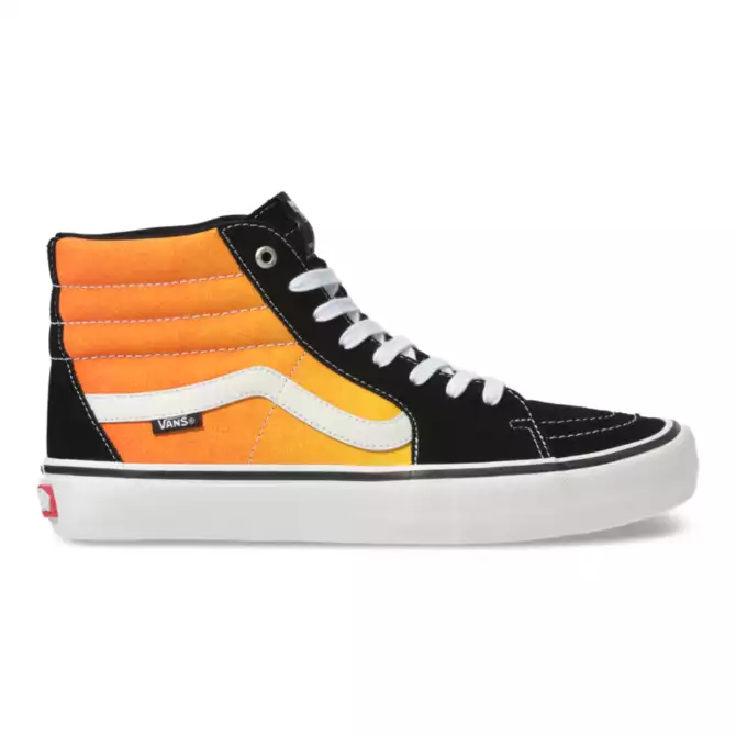 Vans Fade Sk8 Hi Pro Skate Shoe in Black and Orange