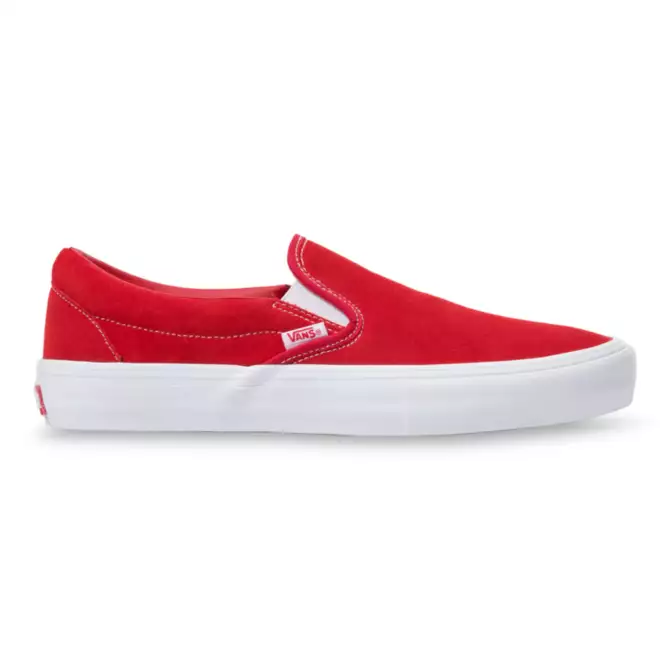 Vans Slip on Pro Skate Shoe in in Red and White