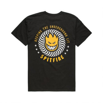 Spitfire Keeping The Underground Lit T Shirt in Tar Orange and Yellow
