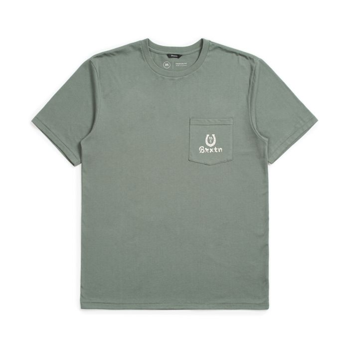 Brixton Fortune Short Sleeve Pocket Tee in Cypress